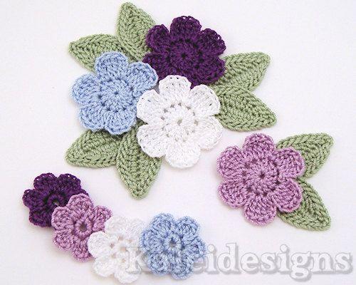 8 Purple Mix Crochet 6-Petal Flower Embellishments Scrapbook ...