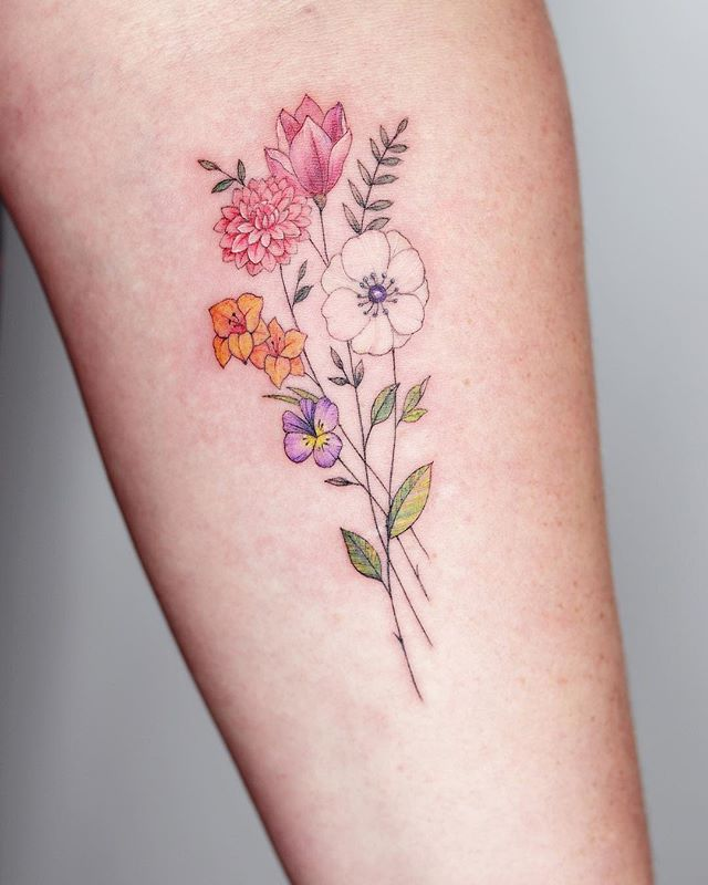 A Bouquet With Anemone Dahlia Gladiola Magnolia And Wild Pansy For Chelsea It Was So Lovely To Meet You Wildflower Tattoo Bouquet Tattoo Pansy Tattoo