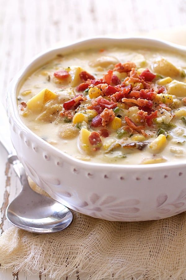 Roasted Poblano Corn and Potato Chowder with Bacon and Gouda Cheese is total comfort in a bowl!