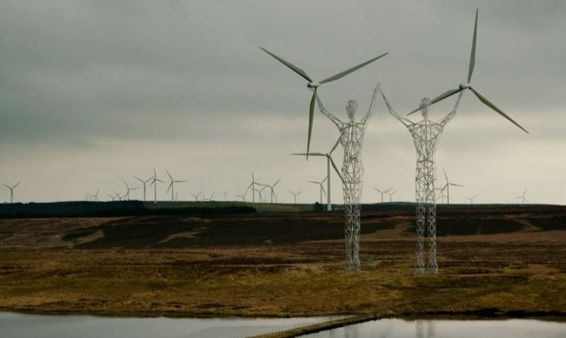These Beautiful Giant Sculptures Support Power Lines With Style - Architects turn icelands electricity pylons into giant human statues