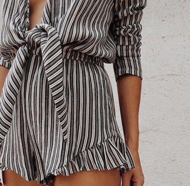 e8e938117a7 jumpsuit stripes romper playsuit low cut black and white black ...