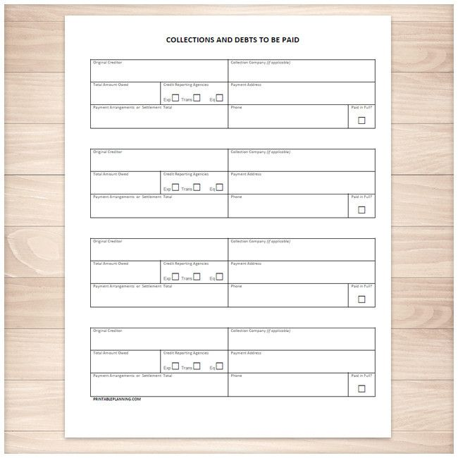 Collections And Debts To Be Paid  Tracking Sheet  Printable
