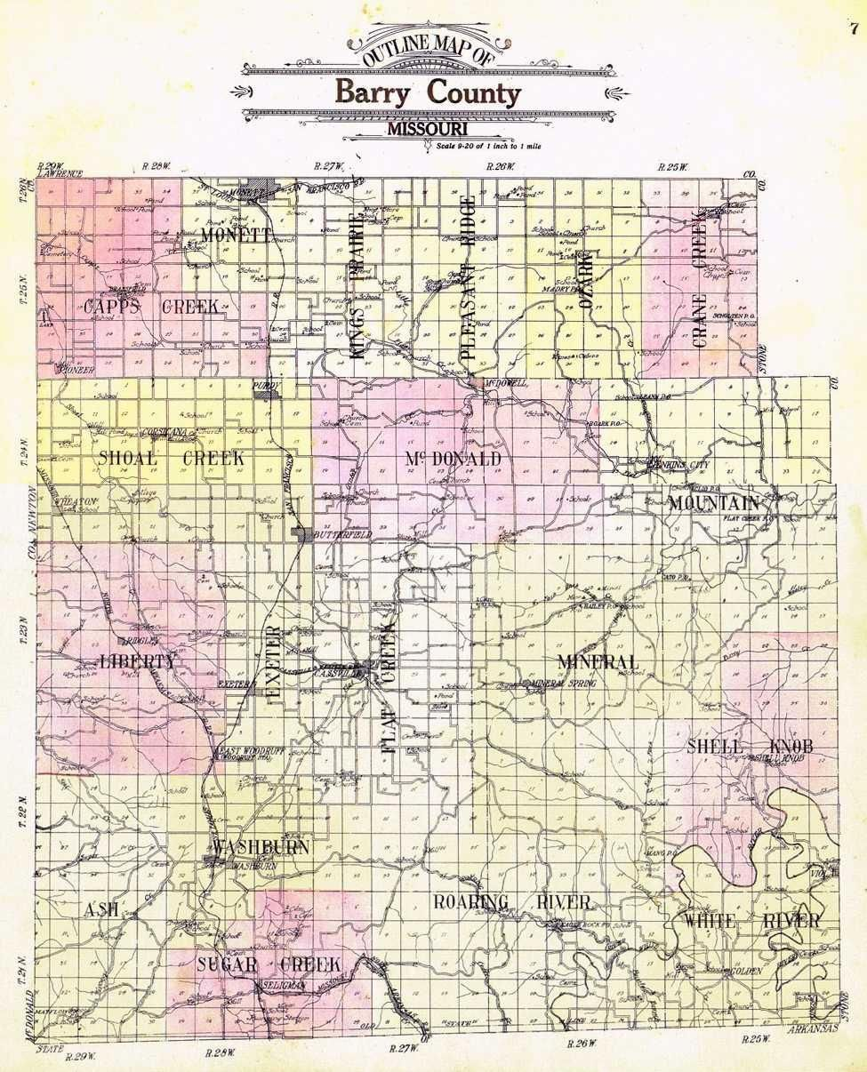 Darla Ball marbut 1909 Map of Barry County MO Owner Darla