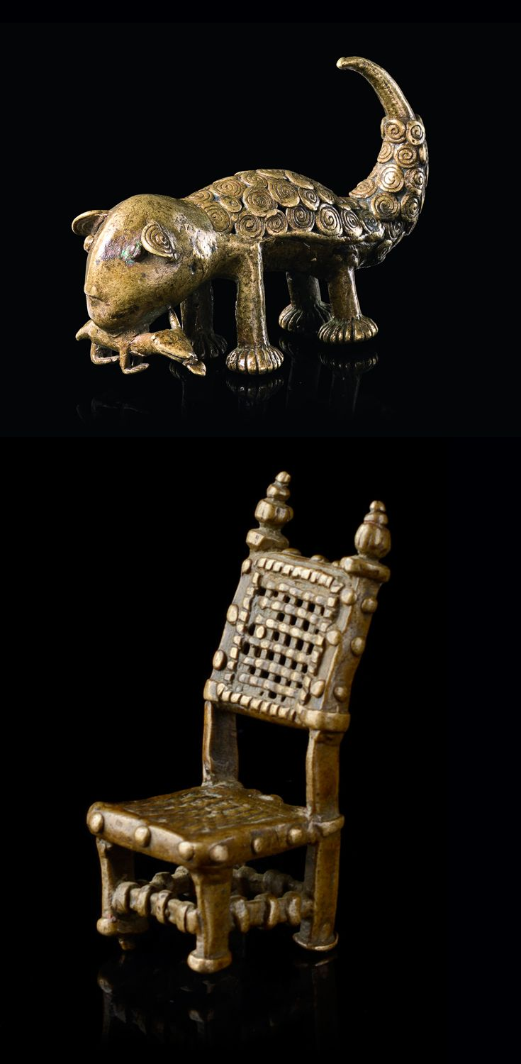 Africa | Two goldweights from the Akan people of Ghana | Brass; leopard holding a bird in its mouth and an 'asipim' stool