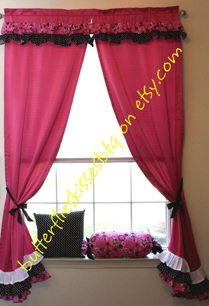 Handmade Minnie Mouse Hot Pink And Black Curtains D S Room Toddler Baby Disneyworld