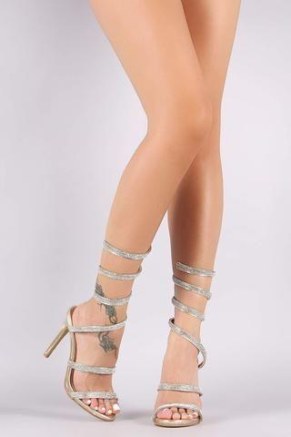 Rhinestone Spiral Leg-Wrap Stiletto