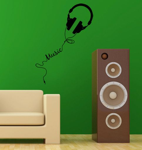 musical music headphone wall decal 20