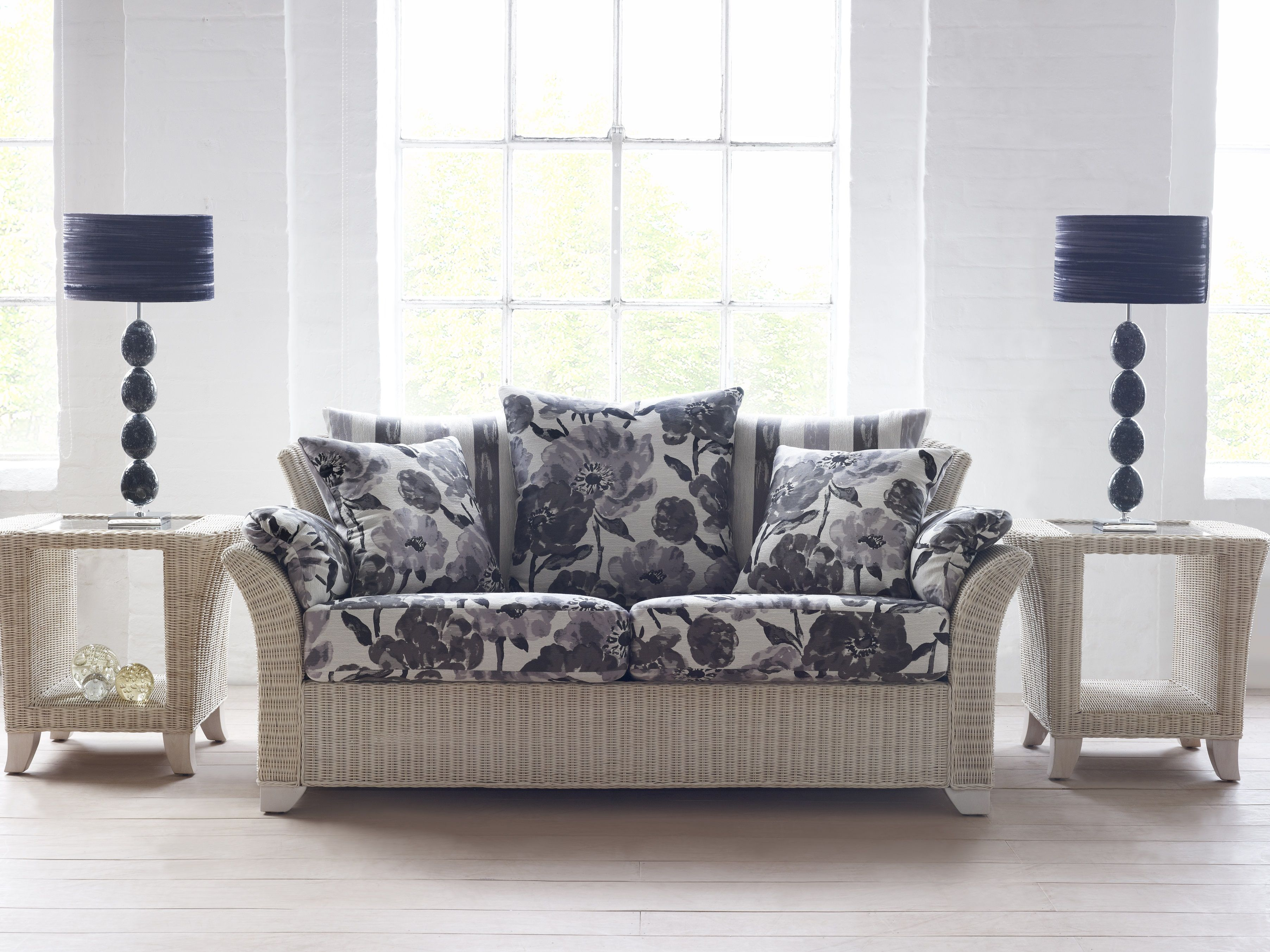 Cane Furniture - indoor outdoor furniture, conservatory, living room, wicker, rattan, hand made, bespoke, cushions, home décor. Arona Sofa with Side Tables. Call 01582 727123 for more info.