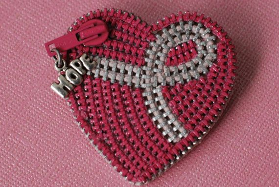 Hope For The Cure Breast Cancer Awareness Zipper Brooch