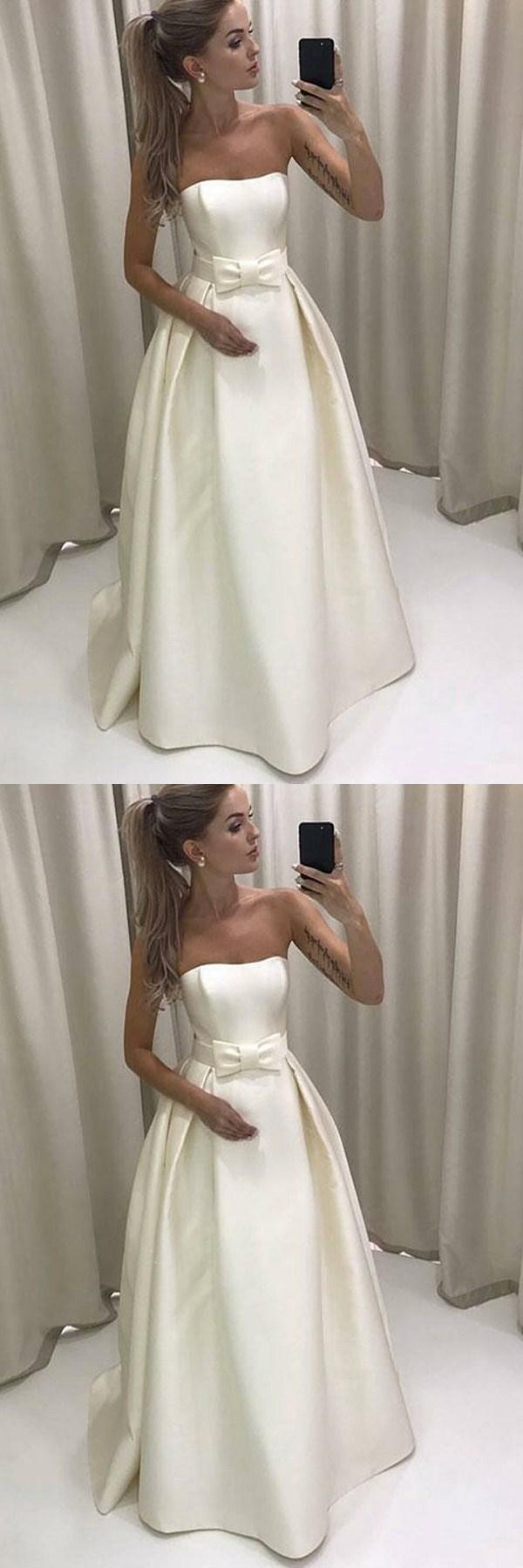 Aline sweetheart sweep train ivory satin wedding dress with bowknot