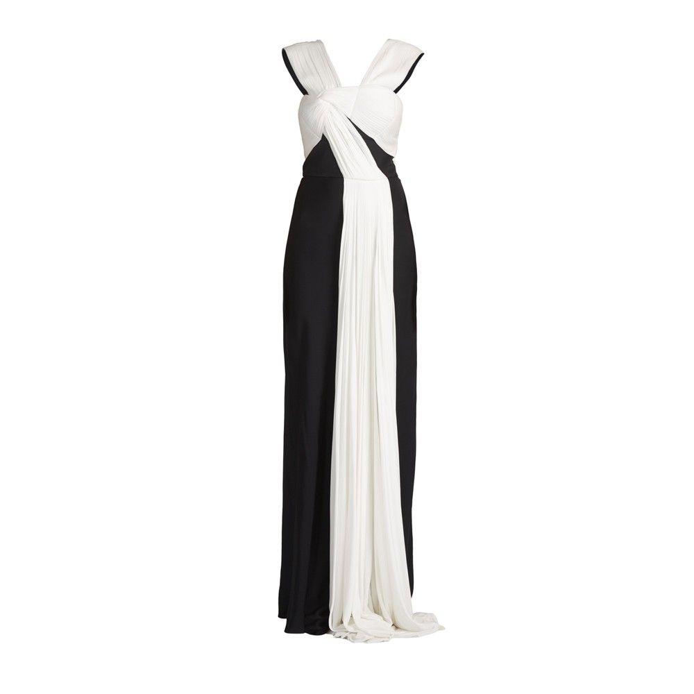 1c27120d07e43 Elegant long dress made of double georgette. Draping and motif knot on  chest made of soft jersey plisse with colour contrast