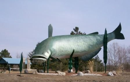 "November 14, 2009, the Dunnville Mudcat ""Muddy"" was un-veiled.  A three-year effort to bring the town's mascot to fruition in bigger-than-life form has been realized. Muddy, the giant mudcat, is 50- foot long, 27-foot high statue's permanent home at Centennial Park at the western entrance to Dunnville.  The mudcat has long been associated with the town especially through its sports teams and proximity to prime fishing.  Make the trip to Dunnville Ontario to see the ""Big Fish"", Muddy!"