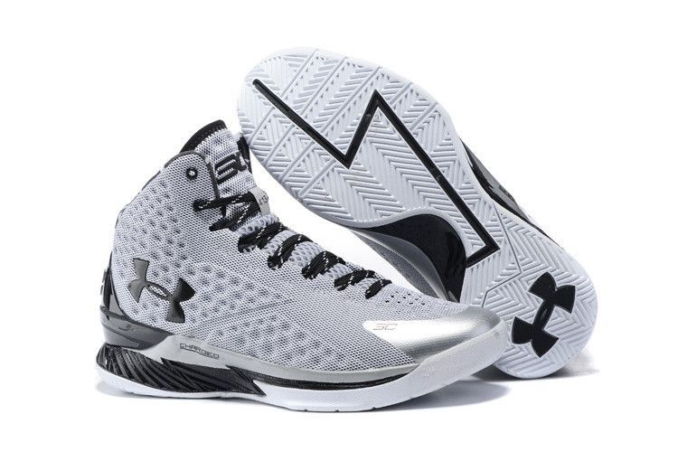 Men\u0027s Under Armour Stephen Curry One Grey Black Basketball Shoes