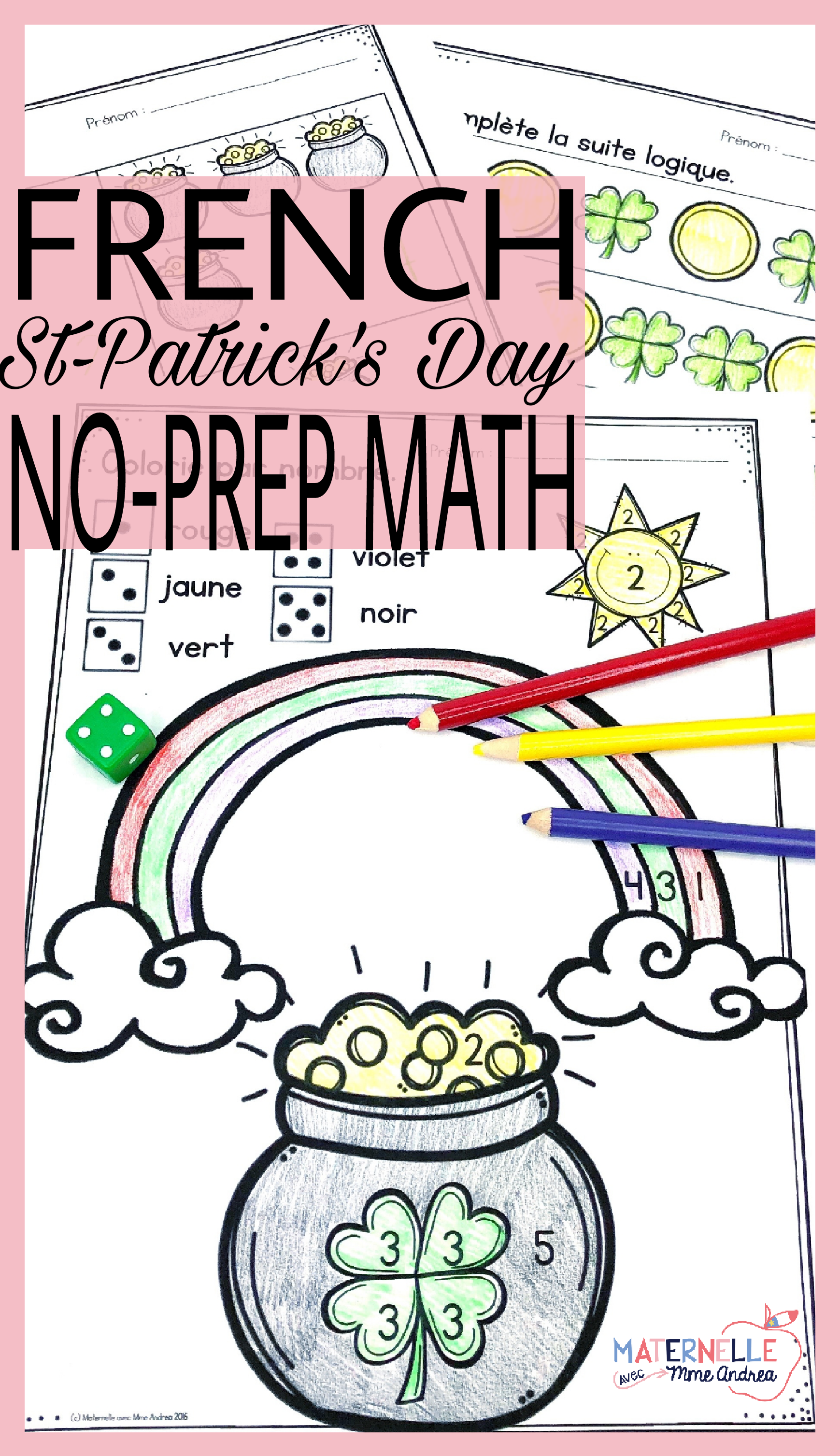 French Saint Patrick S Day No Prep Math Worksheets
