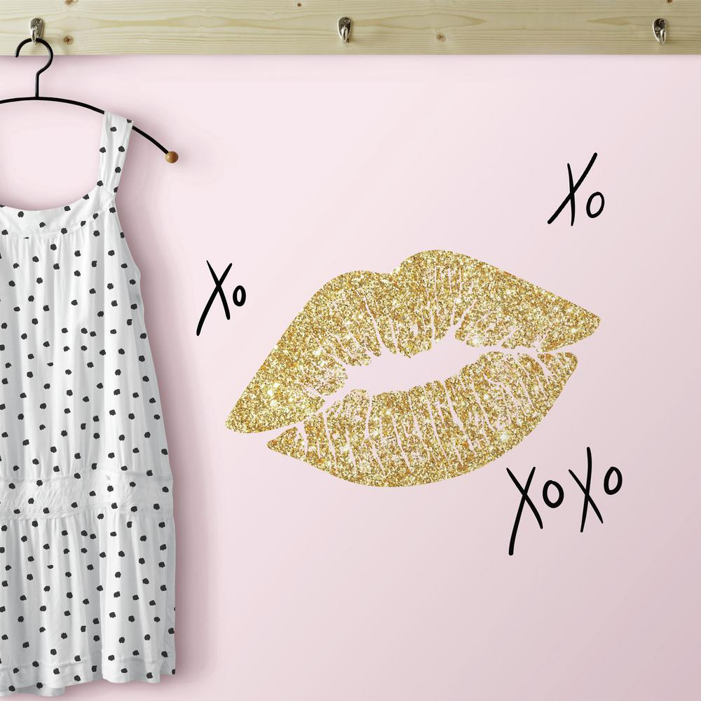 5 in. x 11.5 in. Xoxo Lips 10-Piece Peel and Stick Wall Decals with ...
