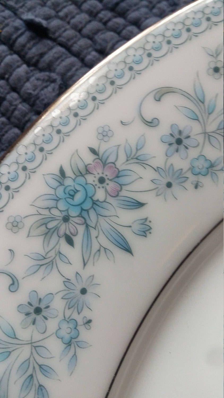 Blue White China Plates Noritake Matching Pair Bone China Etsy Blue And White China Noritake China Patterns Vintage China Plates