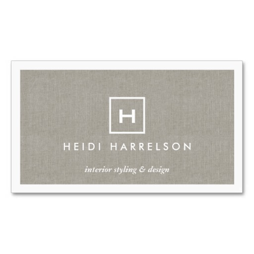 BOX LOGO With YOUR INITIAL MONOGRAM On KHAKI LINEN Business Card