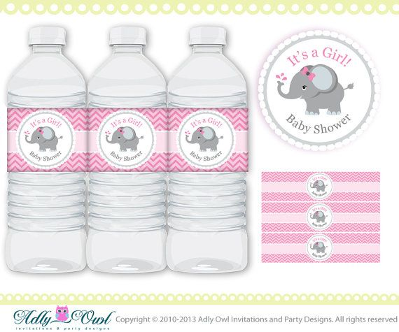 Gianna S Pink And Gray Elephant Nursery Reveal: Pink Grey Girl Elephant Baby Shower Water By