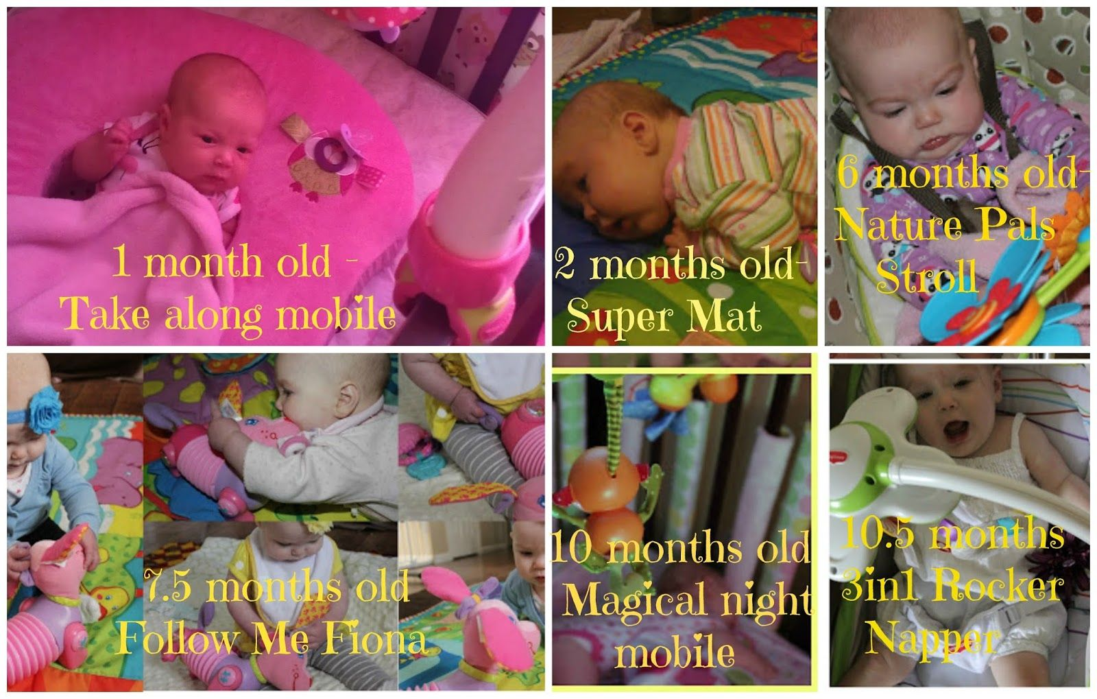 Tiny Love giveaway 1 month olds, 10 month olds, 2 month olds