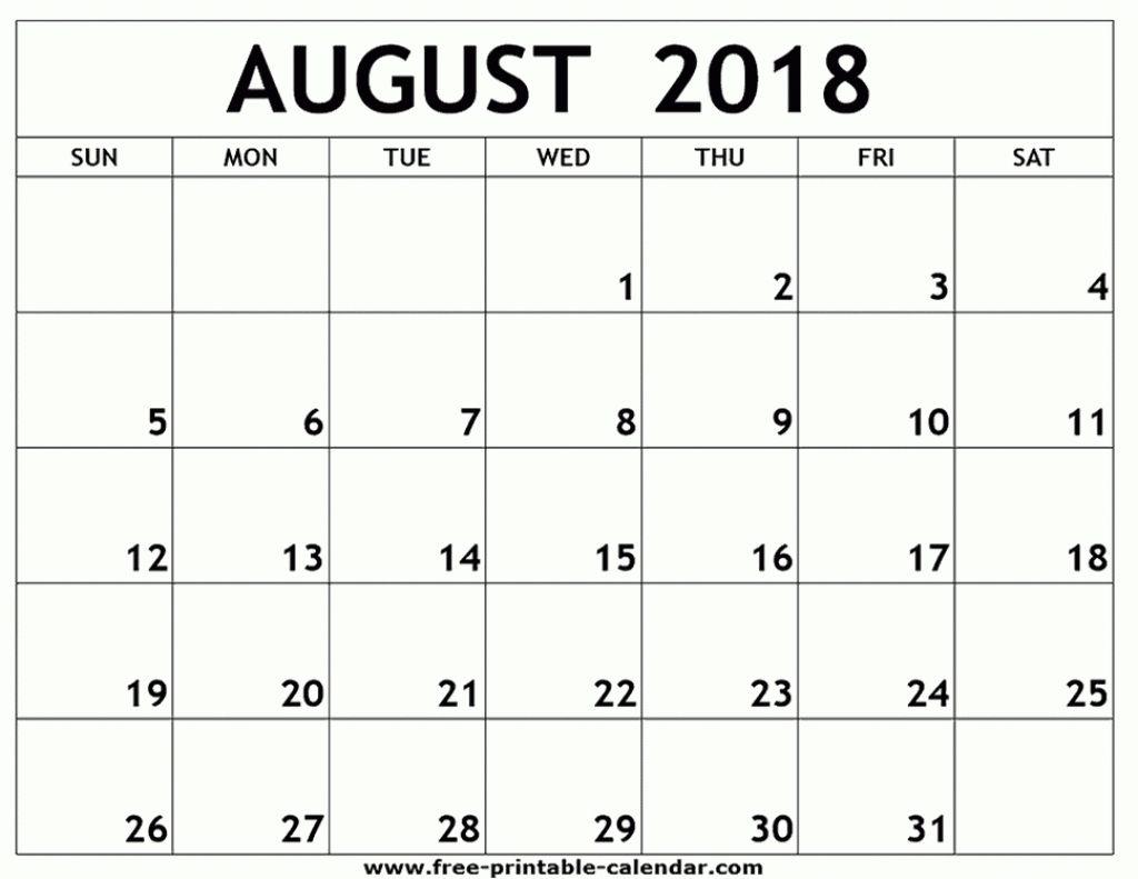 August 8 X 11 Printable Calendar