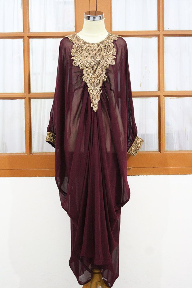 c04d66d91c2 MOROCCAN Red maroon kaftan Dubai style gold embroidery maxi dress farasha  jalabiya.  48.88