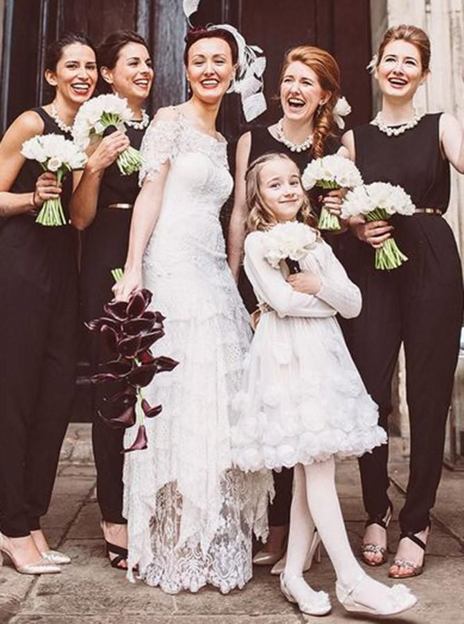 Prom Dress Tight, Jewel Sleeveless Black Chiffon Bridesmaid Jumpsuit With Belt #bridesmaidjumpsuits