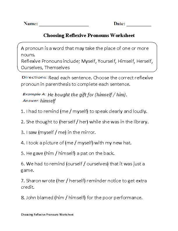 choosing reflexive pronouns worksheet part 1 pronoun fun pinterest pronoun worksheets. Black Bedroom Furniture Sets. Home Design Ideas