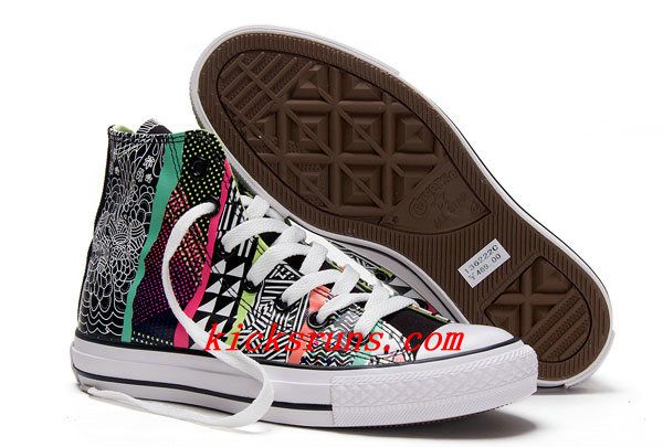premium selection ae1d4 61a97 2013 Converse Chuck Taylor All Star Geometric Pattern Print Multi Colored  High Tops Canvas Sneakers