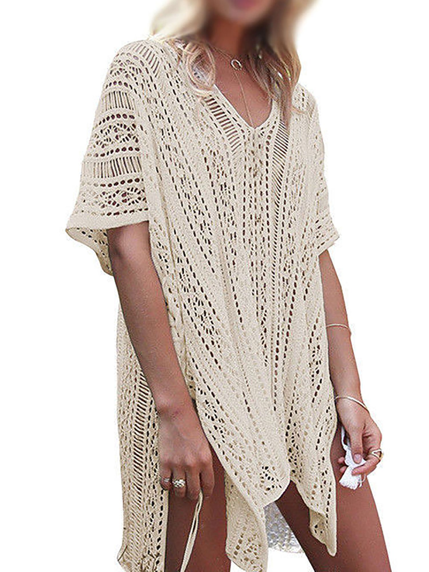 13829a99346 Womens Cover-ups Bohemian Knit Crochet Swim Bikini Tunic Beach Dress Tops  with Tassels Summer Beachwear Bathing Suit#Crochet, #Knit, #Bikini