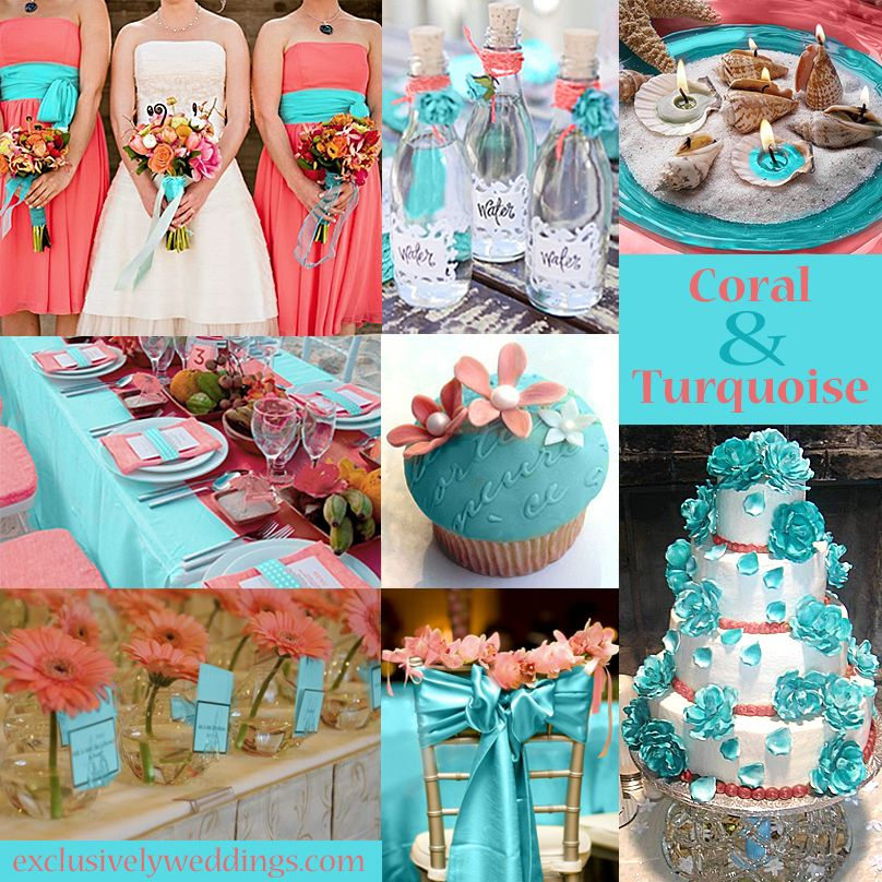 Turquoise Wedding Color Seven Perfect Combinations Exclusively Weddings Coral Wedding Colors Turquoise Wedding Wedding Colors