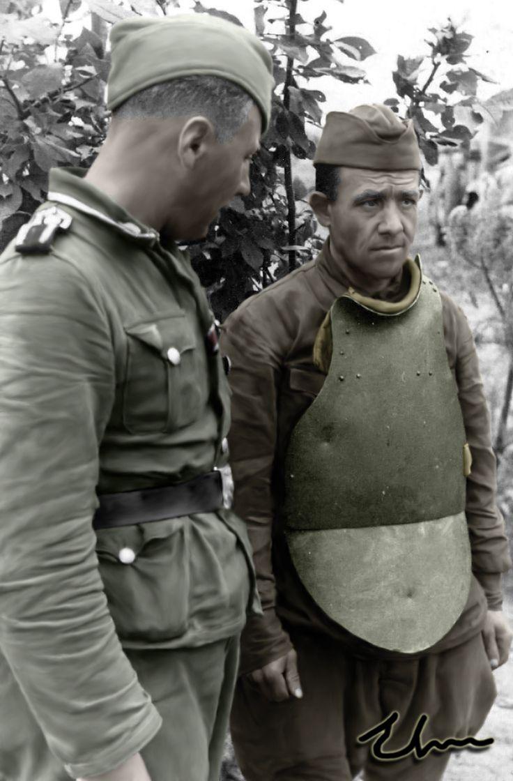 Captured Soviet soldier dressed in SN-42 body armor, 1944
