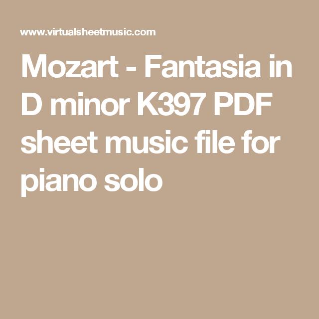 Mozart Fantasia In D Minor K397 Sheet Music For Piano Solo