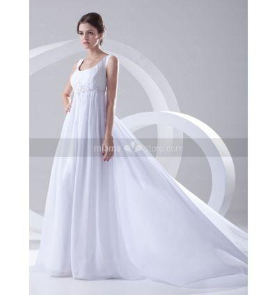 A-line Empire waist Cheap Princess Chapel train Chiffon Square neck Wedding dress on sale at miamastore.com