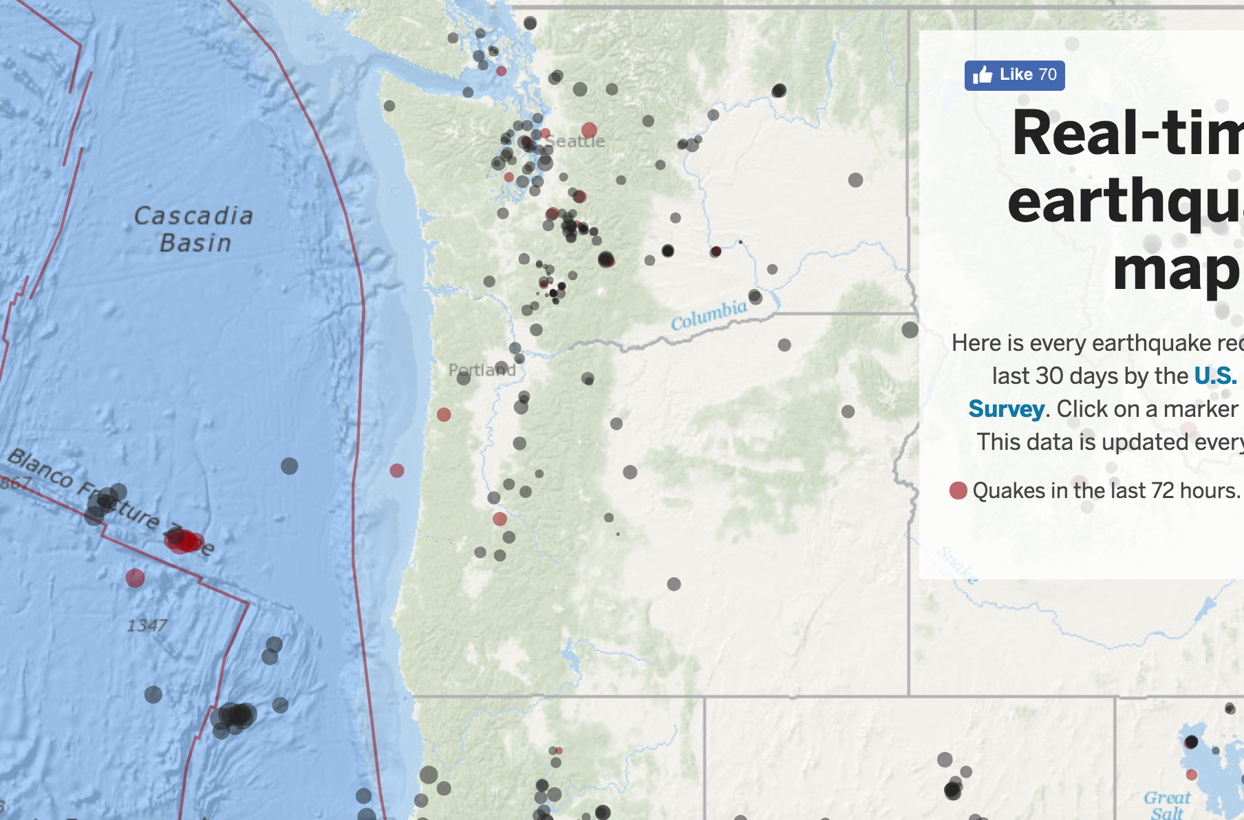 Real Time Earthquake Map For Oregon And West Coast The Great