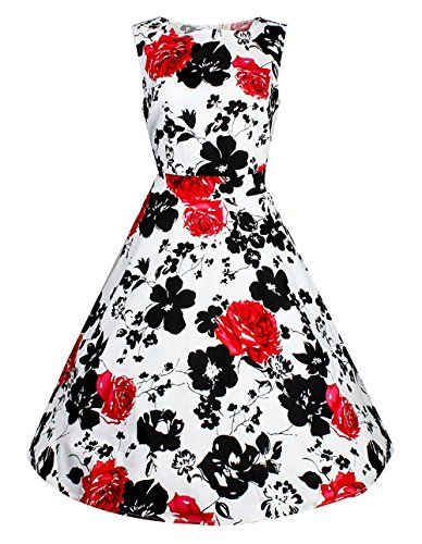 cdc65fa8e3b644 Women's 1950s Vintage Floral Boat Neck Sleeveless Party Swing #Dress With  Belt