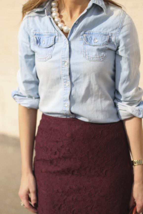 Lace pencil skirt & chambray