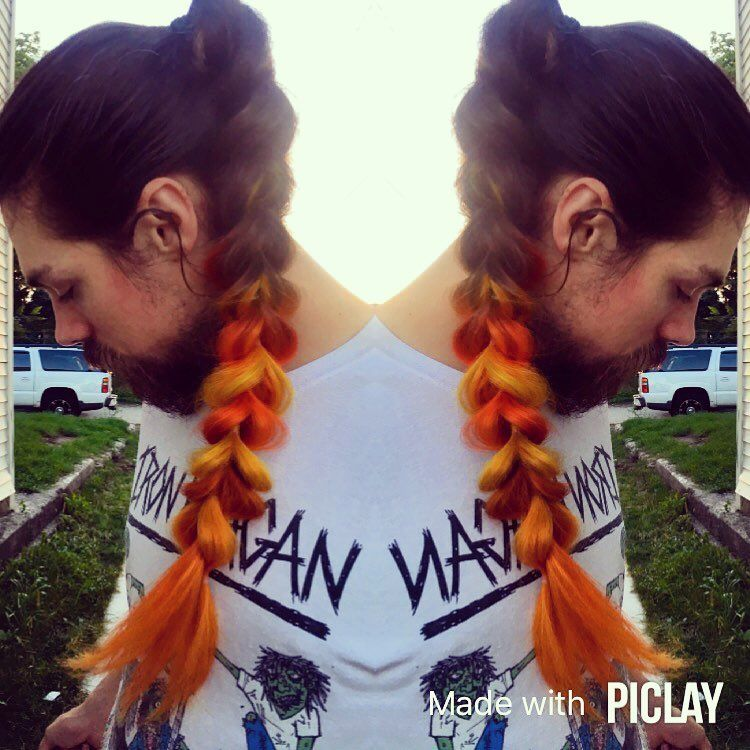 DIY Manic Panic color melt using Psychedelic Sunset & Electric Banana | Pull-through ponytail braid