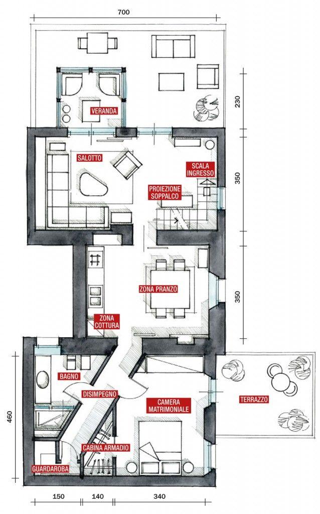 70 Mq Casa Con Veranda Progetto Di Appartamento Case Stili Di