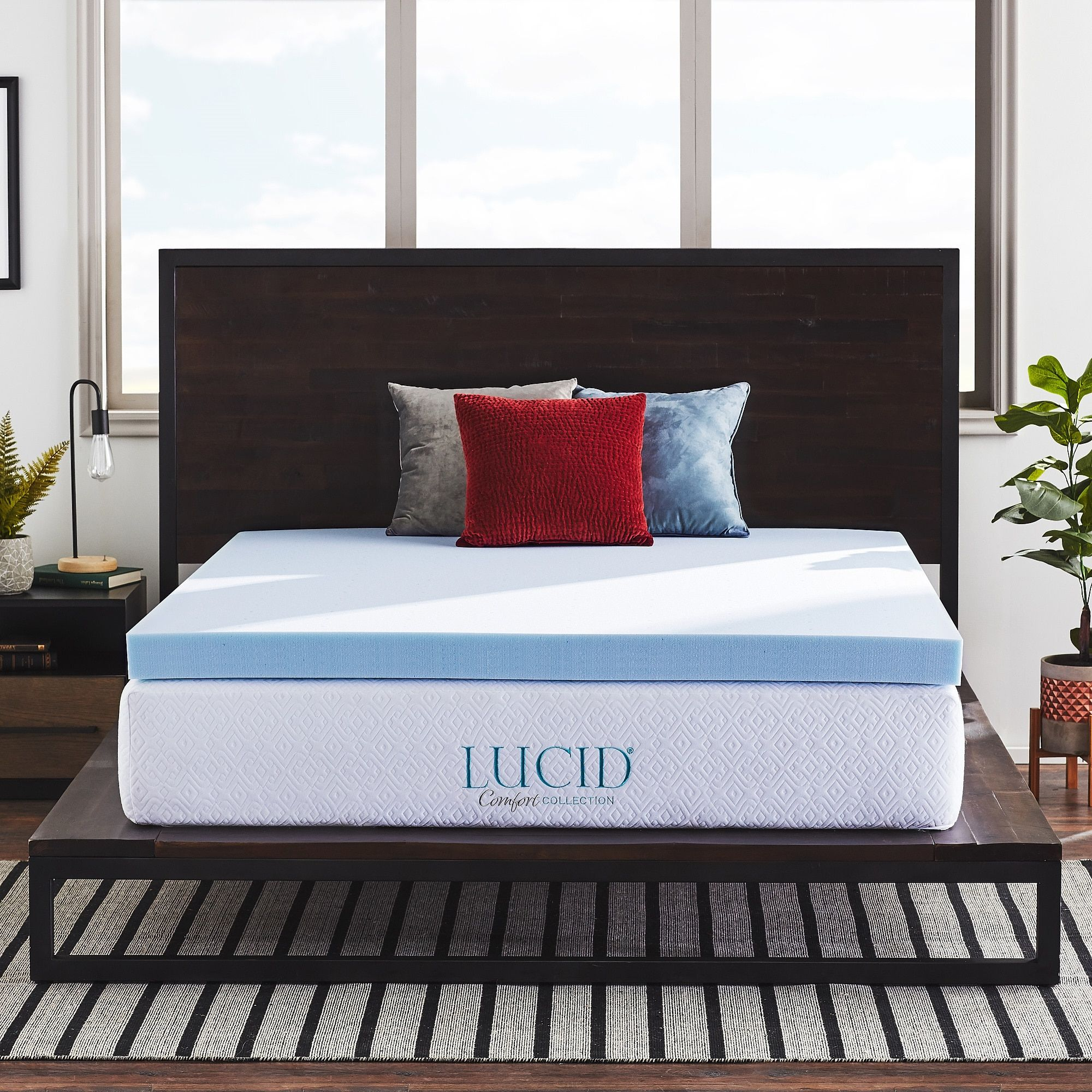 Lucid Comfort Collection 4 Inch Gel Memory Foam Mattress Topper