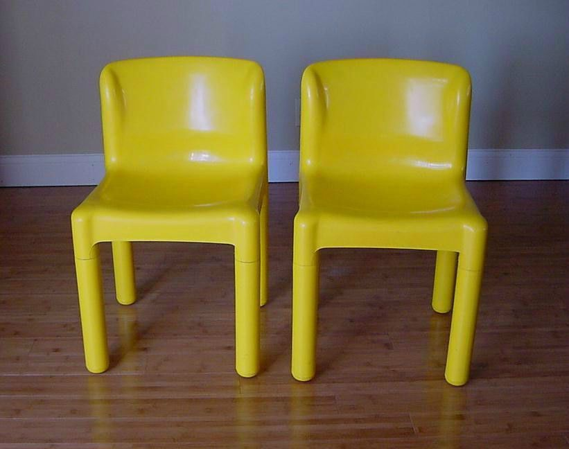 2 Mid Century Carlo Bartoli Italy Kartell Chairs Bright