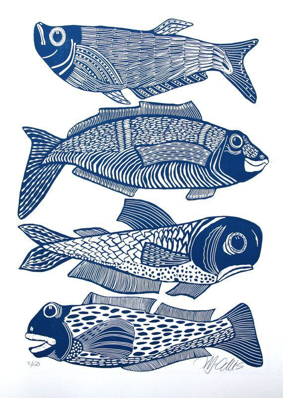 Photo of linocut, Big Boys, fish, blue and white, navy blue, fishing, gift for him, printmaking, beach house, blue, white, home interior, seaside