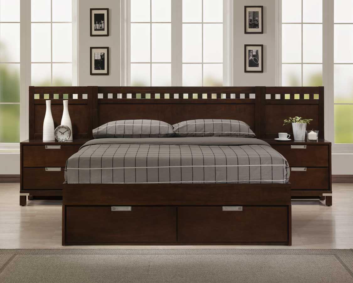 Bella platform storage bed in warm brown cherry How to redo a bedroom cheap