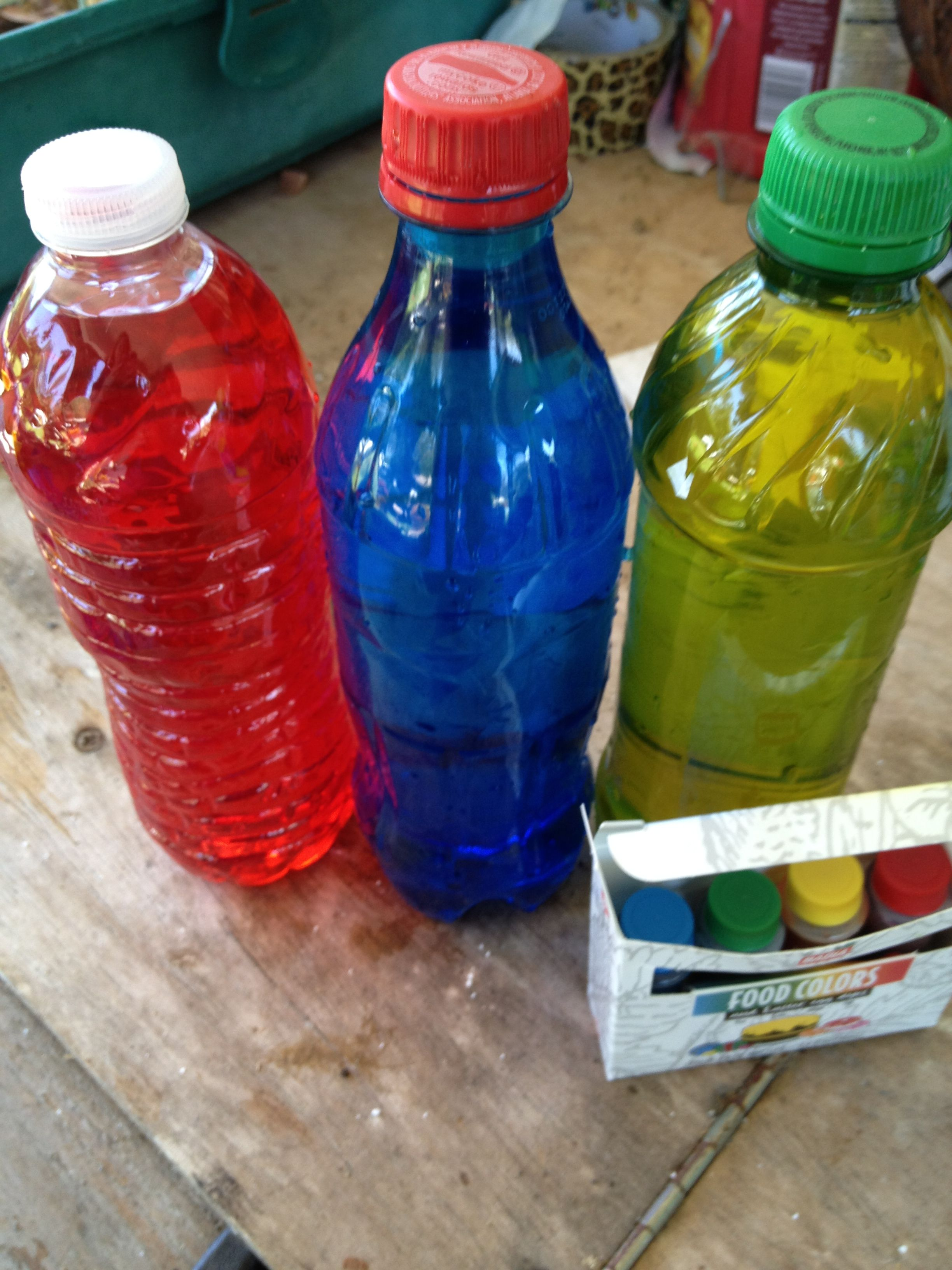 Sinking pool toys 1- get water bottles, water, and food coloring. 2 ...