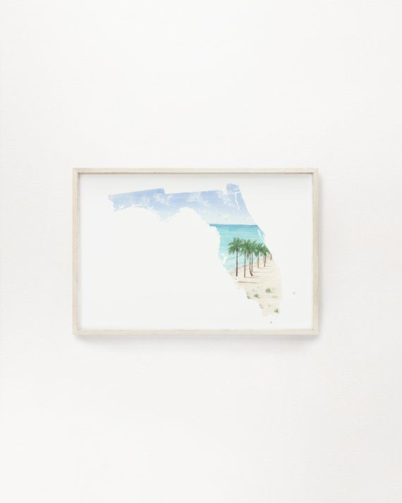 Florida Watercolor Painting Florida State Art Florida Map Print