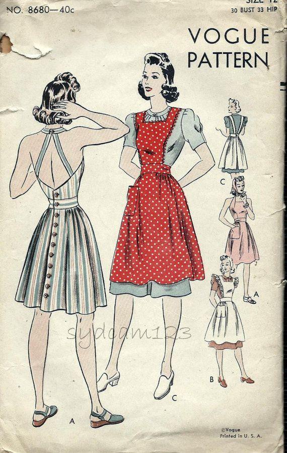 Vintage 1949 Back Cutout Halter Dress Pattern or Pinafore Back Button Sundress 1940s Vogue 8680 Bust 30