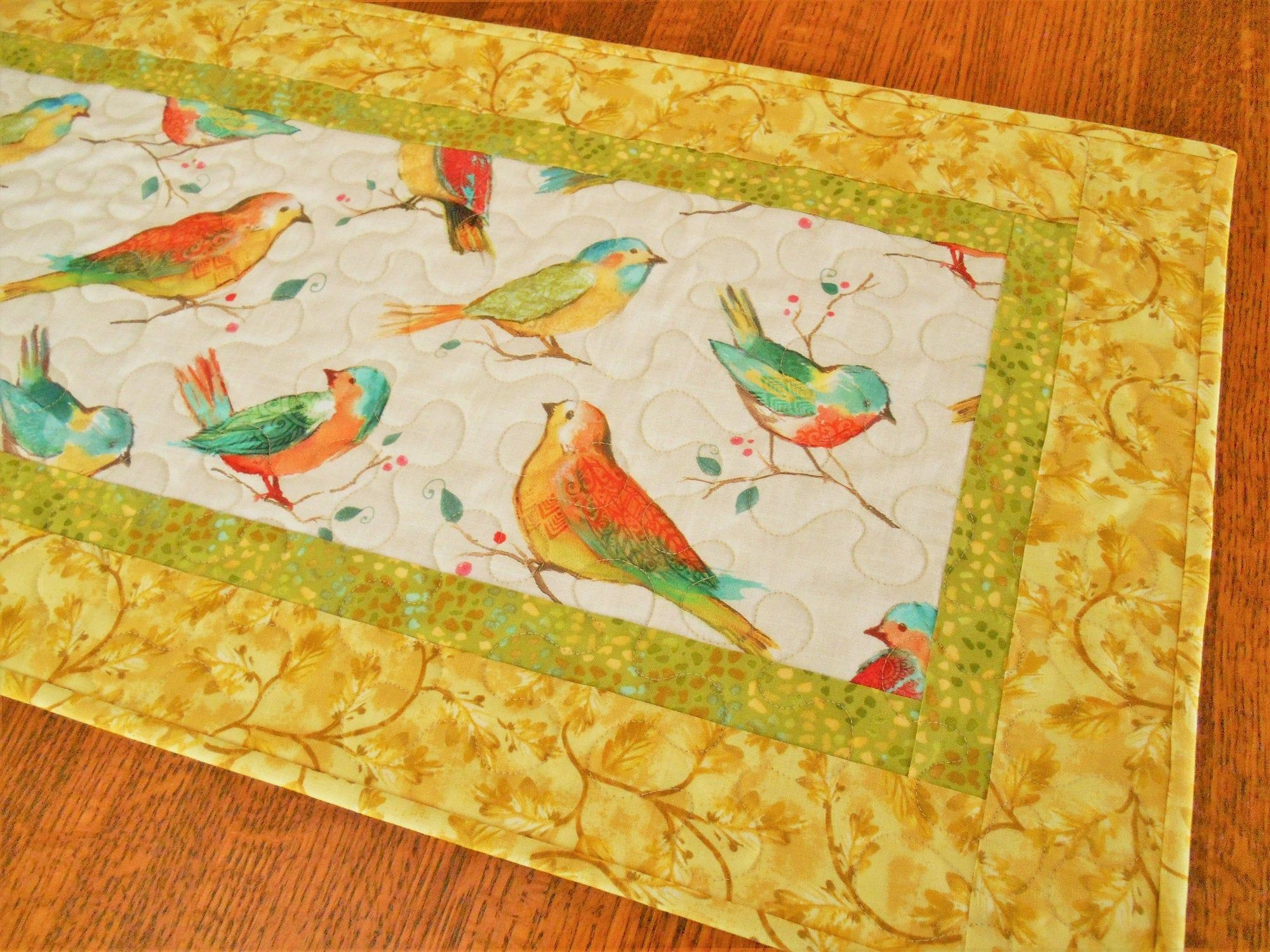 Quilted Table Runner With Birds In Bright Colors Of Yellow In 2020 Quilted Table Runner Quilted Table Runners Table Runners