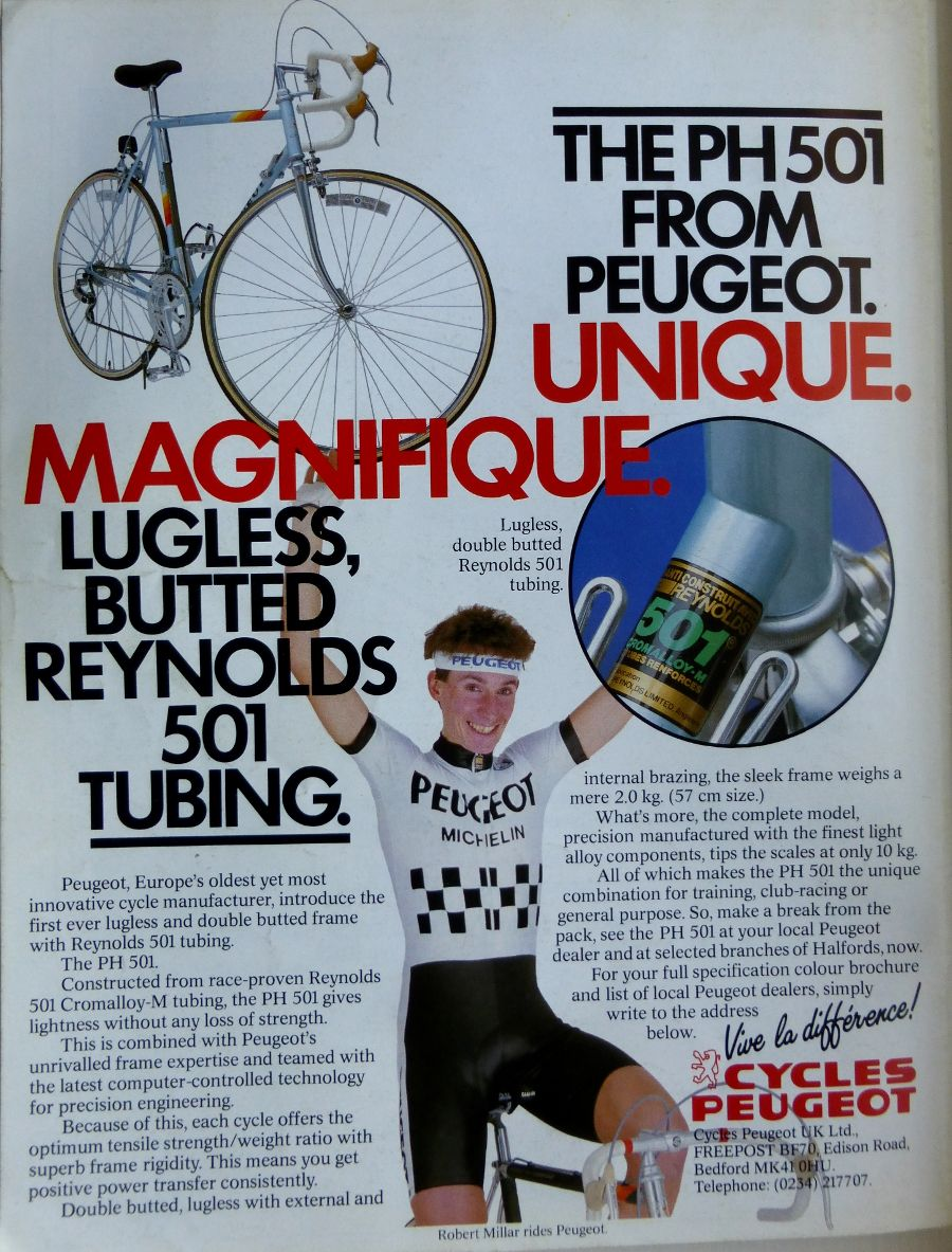 I like these 1980's Peugeot adverts! Robert Millar - great cyclist.