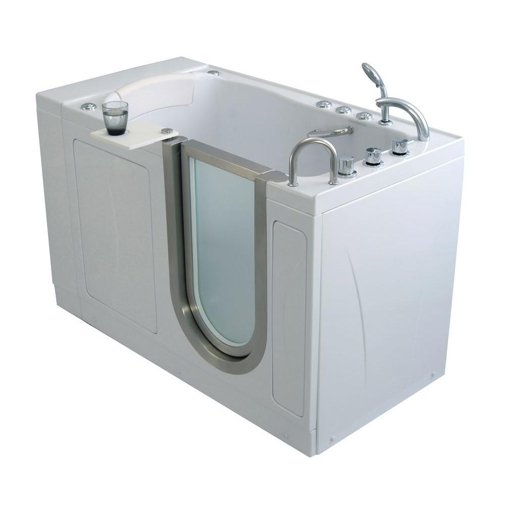 Ella Elite 52 In Acrylic Walk In Air Bath Tub In White With 5