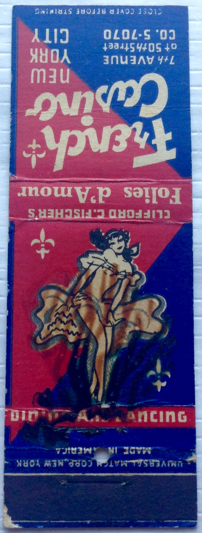 French Casino NYC #pinup #girlie #matchbooks  - To design & order your business' own logo #matches GoTo GetMatches.com