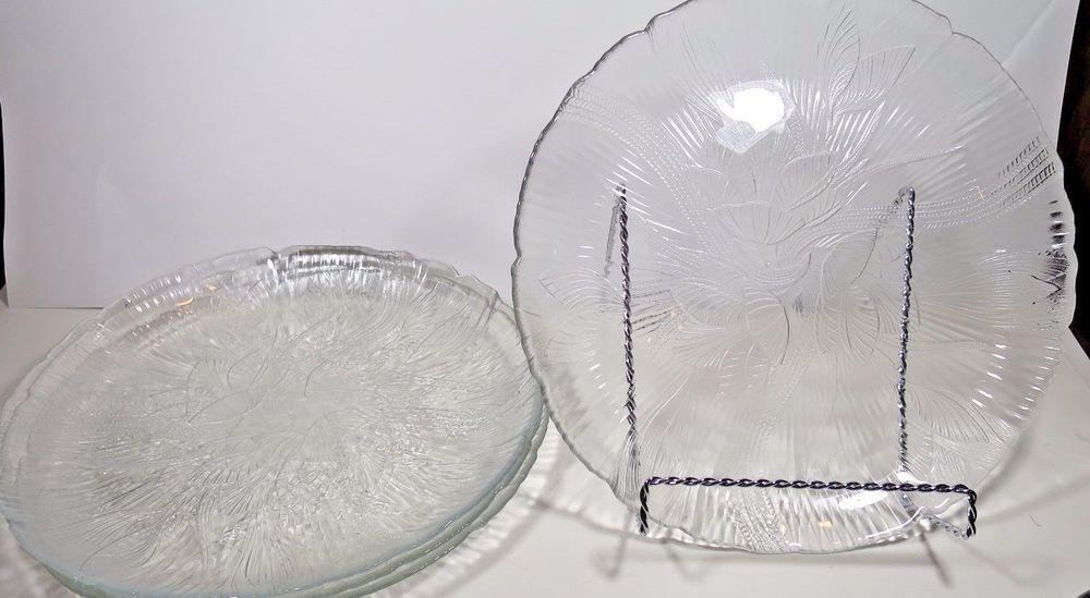 Set (s) Of 4 Arcoroc Dinner Plates Canterbury Crocus Glass 10 3/4